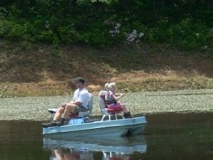 family fishing on boat